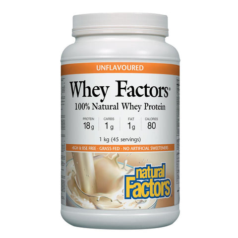 Natural Factors 100% Natural Whey Protein, Unflavoured, 1kg (45 servings)
