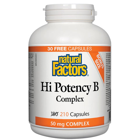 Natural Factors Hi Potency B Complex, 50mg, Bonus Size (210 Caps)
