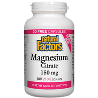 Natural Factors Magnesium Citrate, 150mg BONUS (180 + 30 Capsules)
