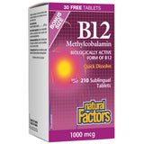 Natural Factors B12 Methylcobalamin, 1000mcg, Quick Dissolve 210 tablets