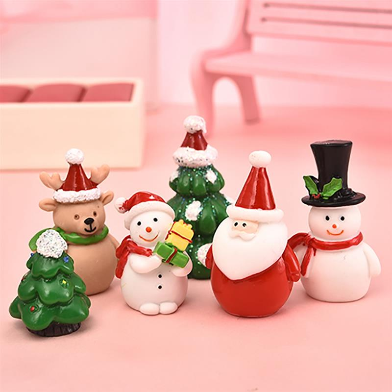 1-7pcs/set Miniature Christmas Tree Santa Claus Snowmen