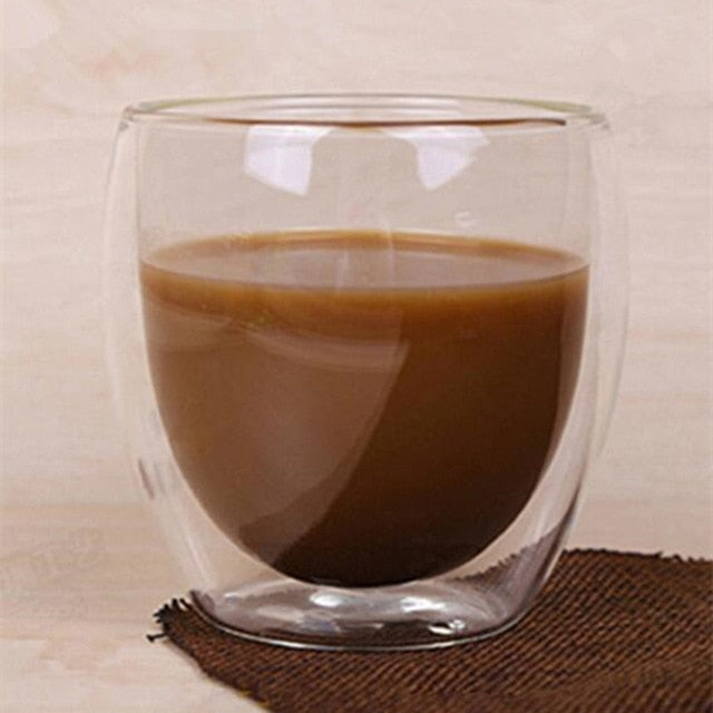 80/250/350/450ml Heat-resistant Double Wall Glass Cup Beer Coffee Cups