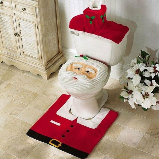 Bathroom Santa Toilet Seat Cover Rug Home Decoration