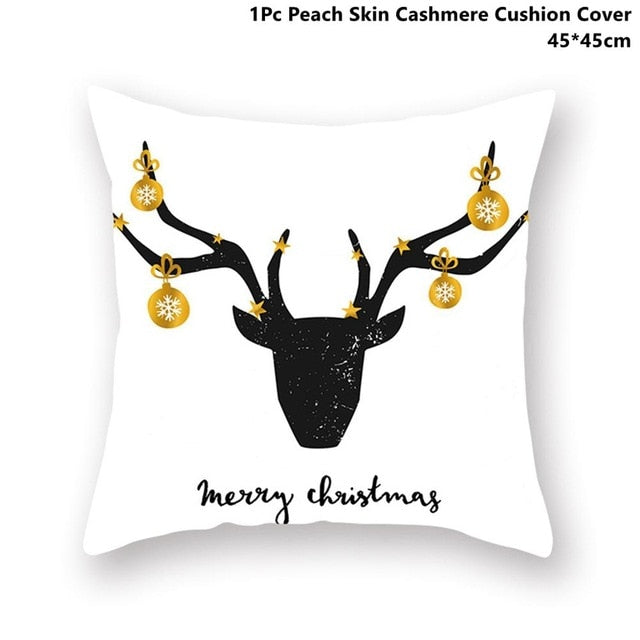 Gold Black Snowflake Merry Christmas Pillowcase Xmas
