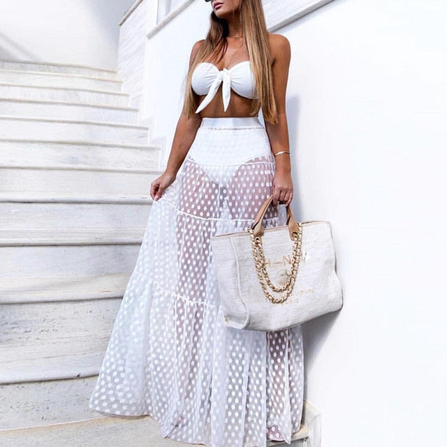 Polka dot Beach-ups High waist long skirts