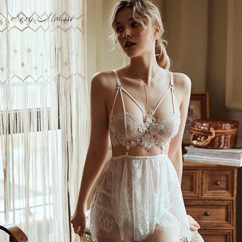 sexy mousse backless women sleep wear night gowns with thong sets