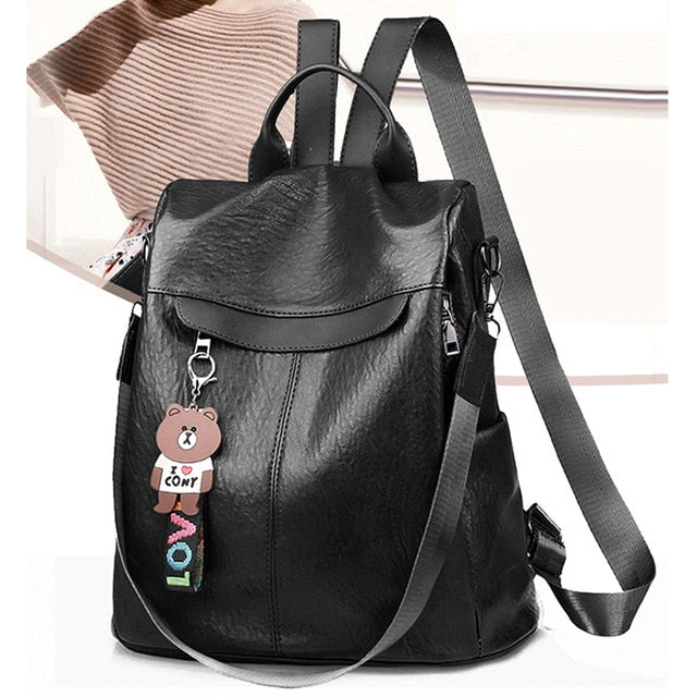 Multifunction Female PU Leather Backpack for Teenage Girls