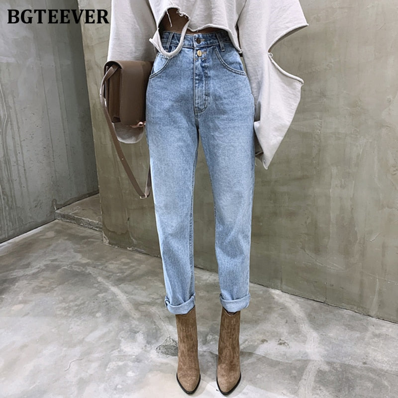 High Waist Straight Jeans Pant for Women Streetwear Loose Female Denim Jeans Buttons Zipper Ladies Jeans 2021