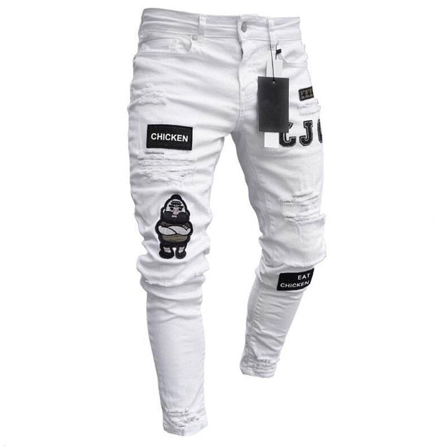 3 Styles Men Stretchy Ripped Skinny Biker Embroidery Print Jeans