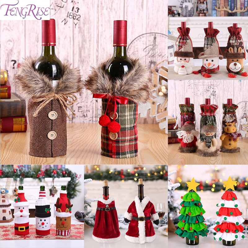 Christmas Wine Bottle Cover Merry Christmas Decor For Home