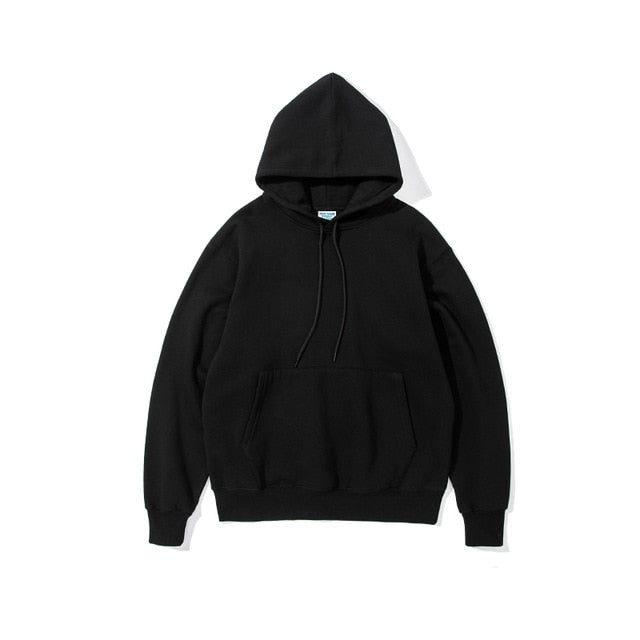 Mens Thick Fleece Hoodies Hip Hop Pure Hoodies