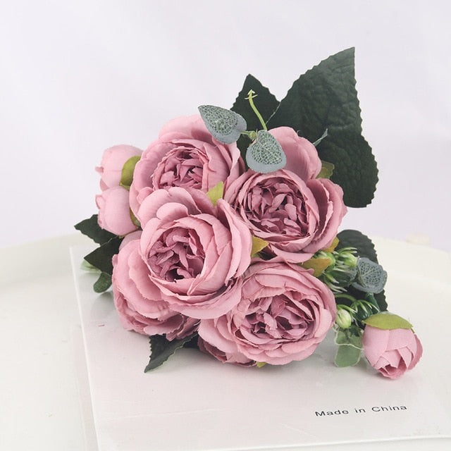 1 Bouquet 9 heads Artificial Flowers Peony Tea Rose Autumn Silk Fake Flowers