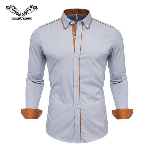 Slim Fit Male Shirt Solid Long Sleeve British Style Cotton Men's Shirt Office