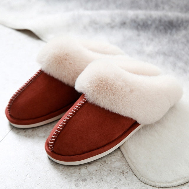 Non-Slip Couples Shoes Indoor Ladies Furry Slippers