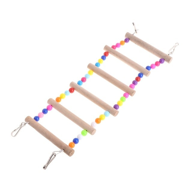 Birds Pets Parrots Ladders Climbing Toy Hanging Colorful Balls With Natural Wood Parrot Toys for Conures Parakeets Cockatiels