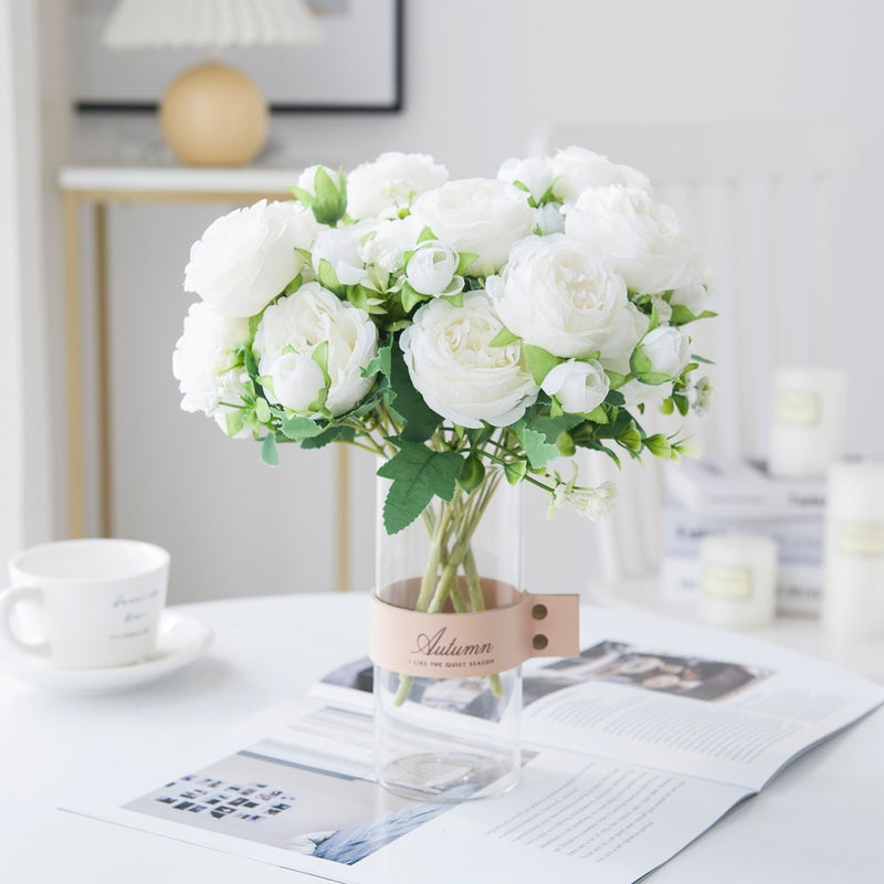 White Roses Artificial Flowers Silk Peonies Wedding Decorative Vases for Home Decor