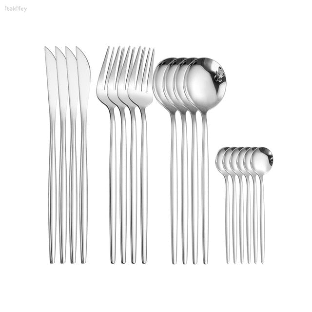 Tableware Stainless Steel Cutlery Set Kitchen Knives Forks Spoons Set