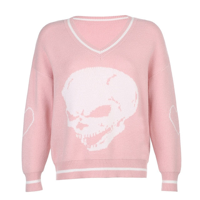 Sweaters Skulls Pullovers V Neck Knitwear Loose Casual Knitted Tops Women