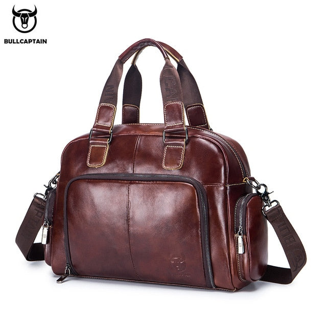 Men's leather briefcase can be used for 14-inch laptop