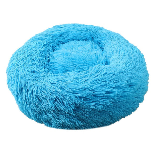 Big Pet Kennel Fuzzy Round Plush Cat Bed House Soft