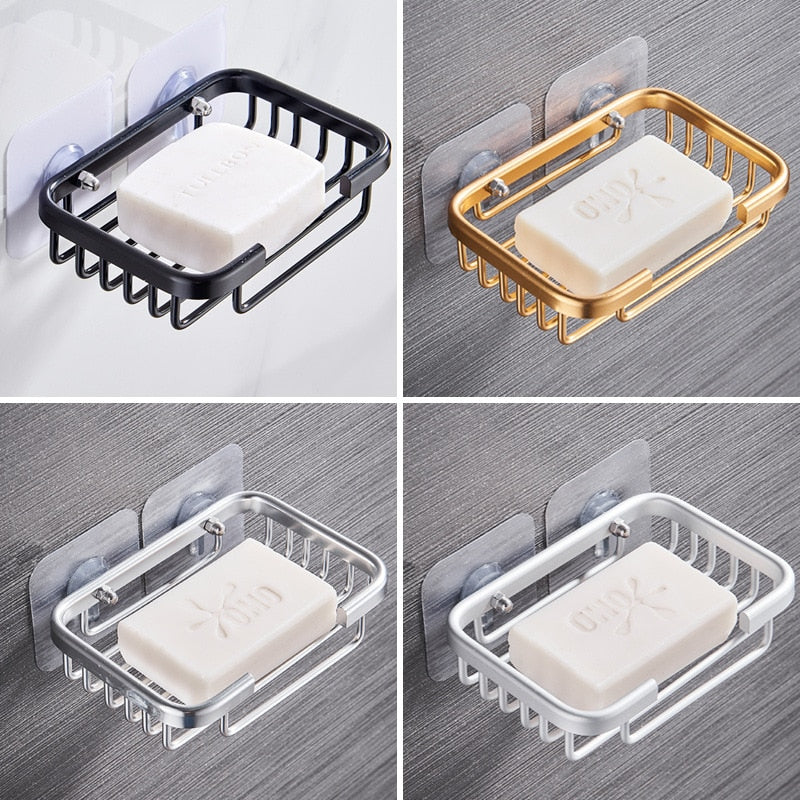 1 Pcs Creative Drill Free Soap Dish Holder Wall Mounted Storage Rack Holder