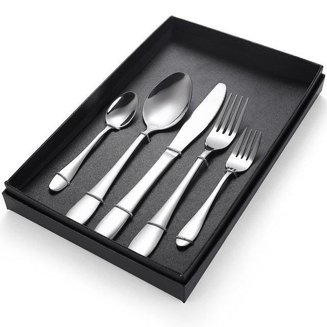 5Pcs Set Black Gold Cutlery Set Dinnerware Silverware Flatware Set