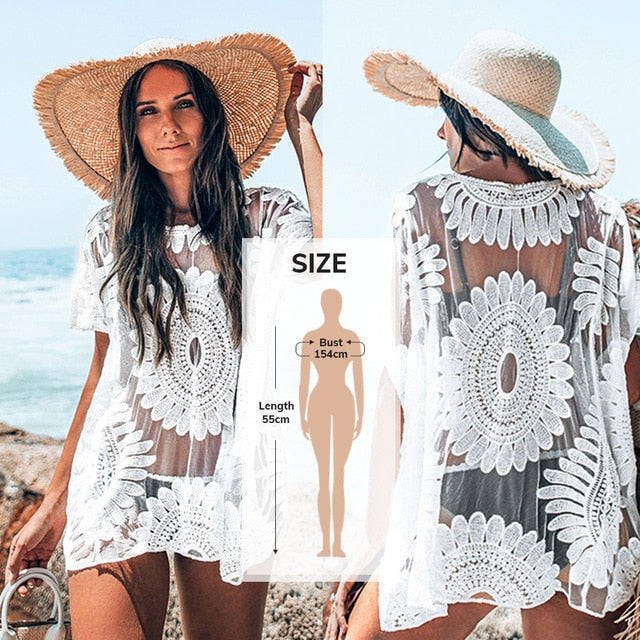 Black Sunflower Crochet Bikini Cover Up Sexy Swimsuit