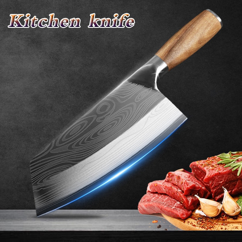 Stainless Steel Butcher Meat Chopping Cleaver Knife Vegetable Cutter