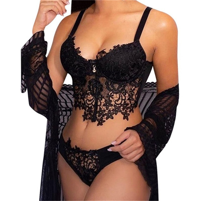 Sexy Lingerie Set Women Transparent Lace Babydoll Open Bra Set