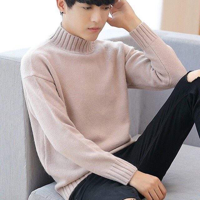 men's half-necked camel knit sweater fashion long-sleeved thick men's sweater