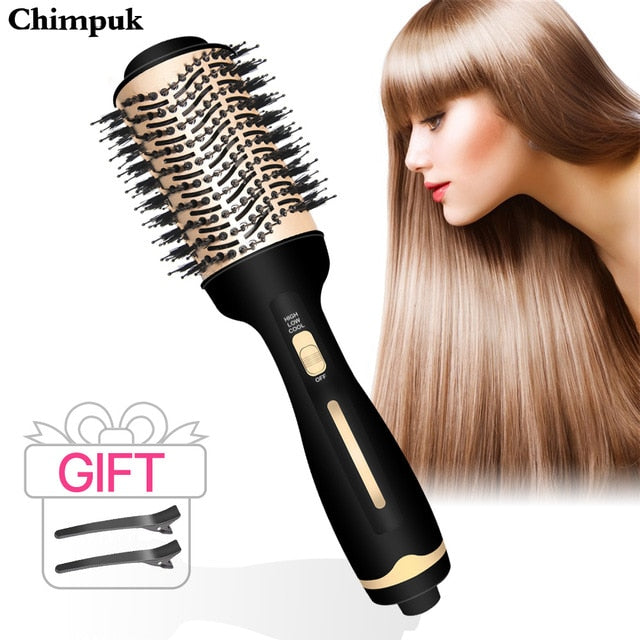2 IN 1 One Step Hair Dryer Hot Air Brush Hair Straightener Curler Comb Roller