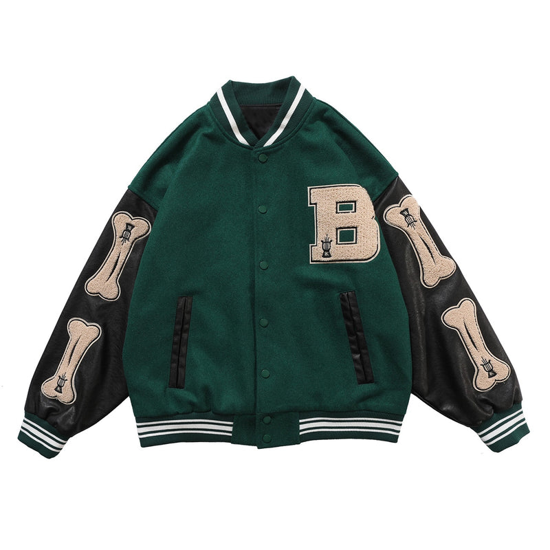 Hip Hop Furry Bone Patchwork Color Block Jackets