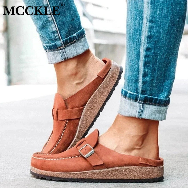 Summer Vintage Flats Shoes Woman Sewing Buckle Casual Loafers Candy Color
