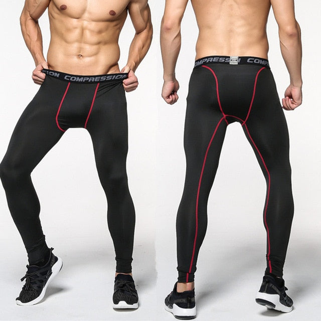 Men Polyester Skinny Leggings Compression Quick dry Elasticity Tights