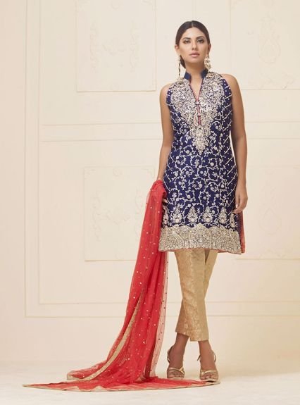 Zainab Chottani NAvy blue khaddi net dress Formal 2020