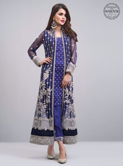 Zainab Chottani NAvy blue jacket Formal 2020