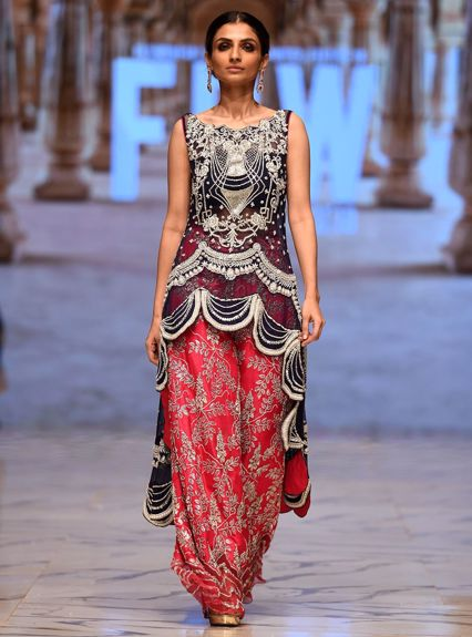 Zainab Chottani NAvy blue and hot pink dress Runway Collection 2020