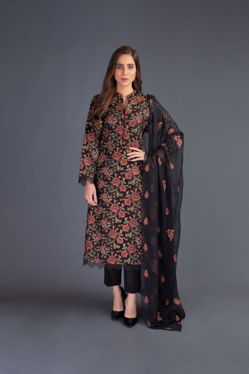 Bareeze Flowers Range Bnl840 Black Collection 2021