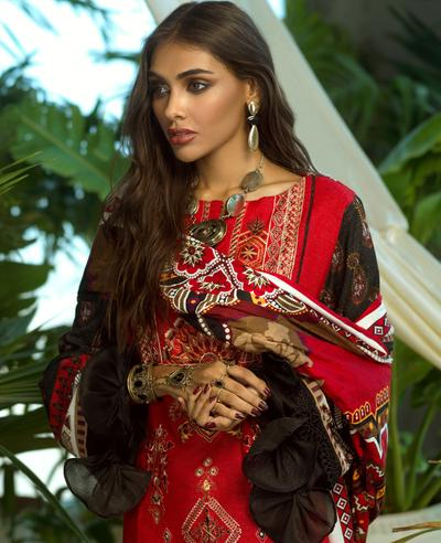 Ittehad ITE 019 SUT RED Embroidered Series 2020