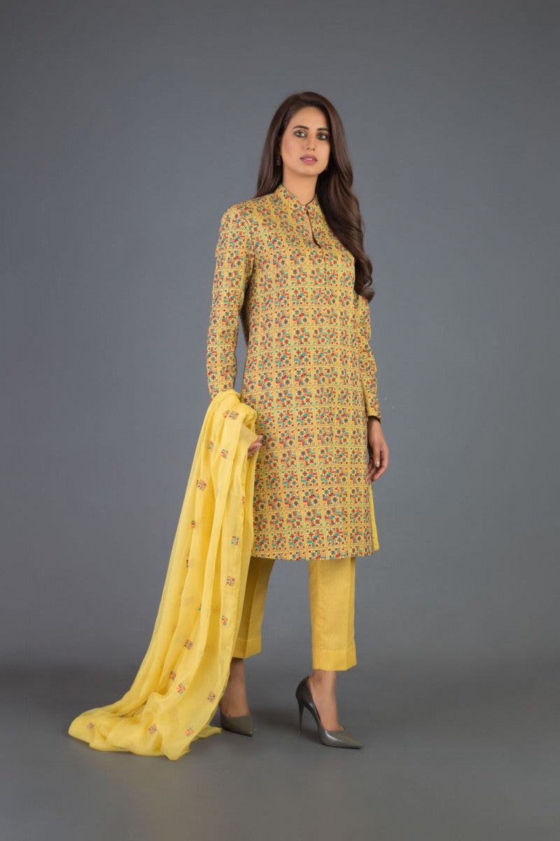 Bareeze Ethnic Charm Ch3089 Yellow Collection 2021