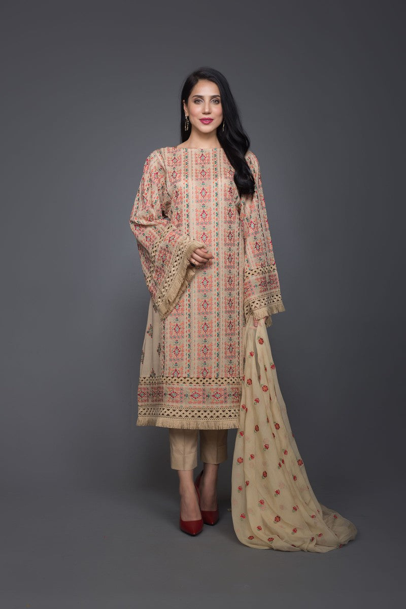 Bareeze Ethnic Vogue Ch3006 Beige Collection 2021