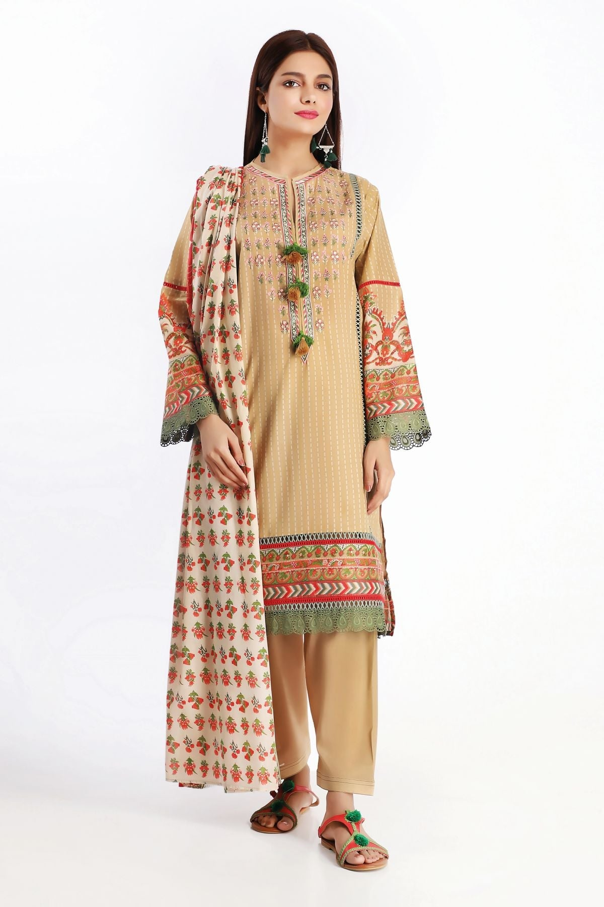 Khaadi B20216 Beige Summer Collection 2020