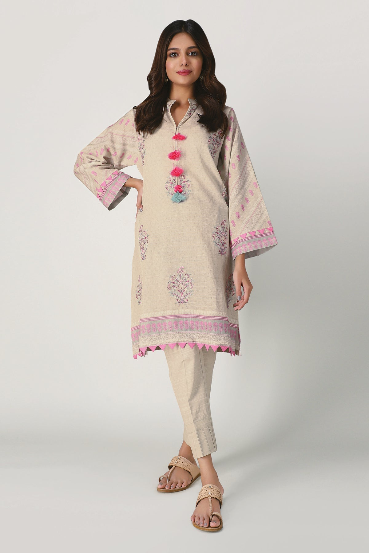 Khaadi Ik20408 Off White Winter Collection 2020