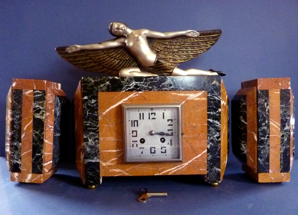French Art Deco Winged Lady Clock – Love Deco