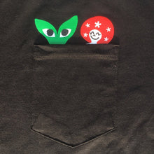 Load image into Gallery viewer, Peeking Aapi and Stargirl Pocket T-Shirt Dark Heather Gray