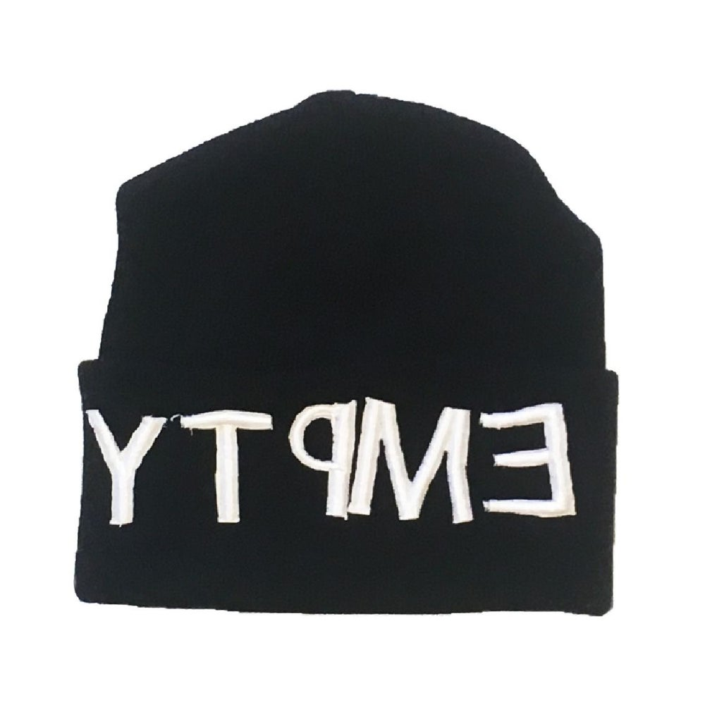 Empty Your Mind Reverse Embroidery Beanie Black
