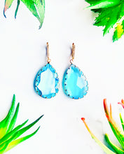 Load image into Gallery viewer, Tropical Blue Glass Drop Earrings