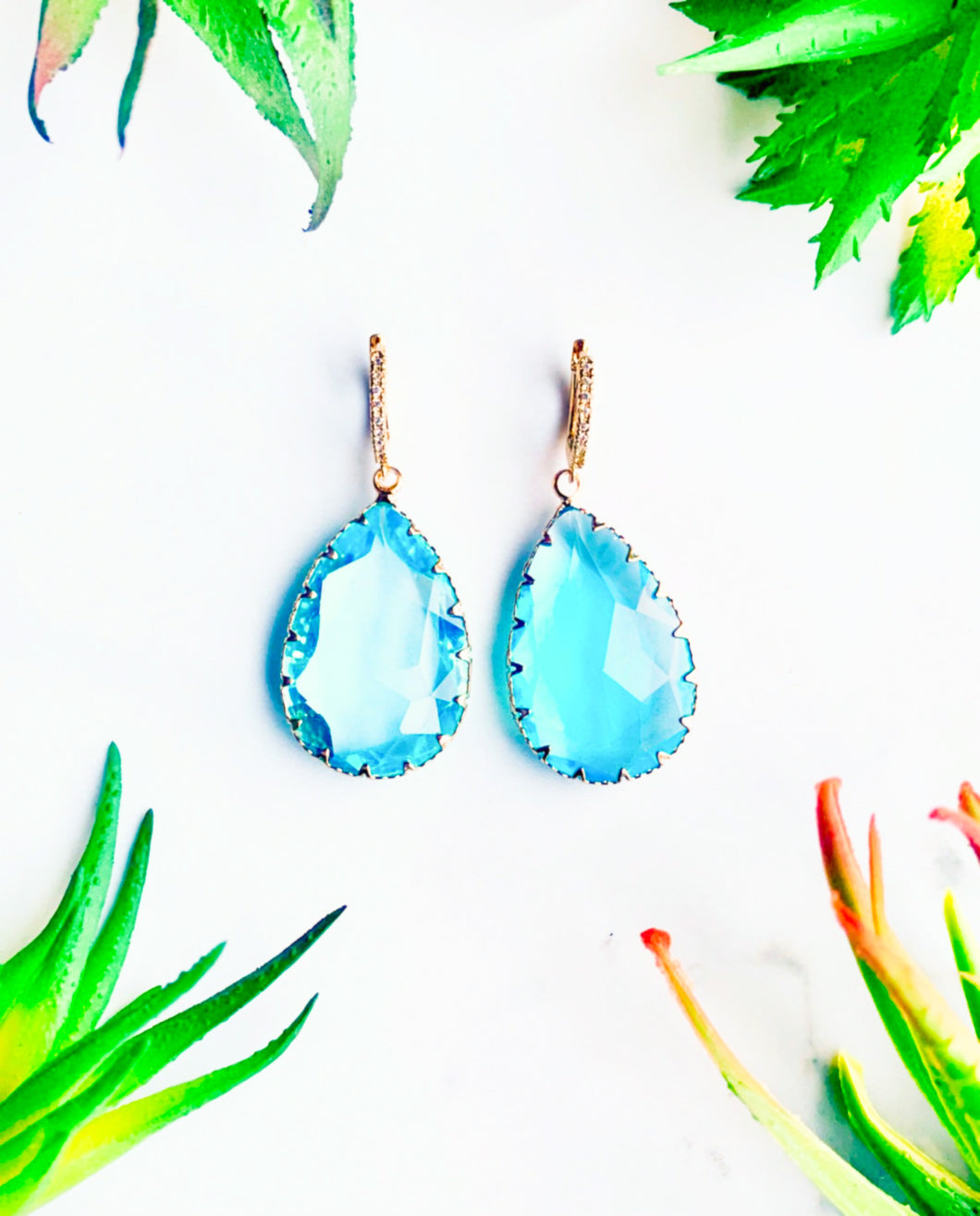 Tropical Blue Glass Drop Earrings
