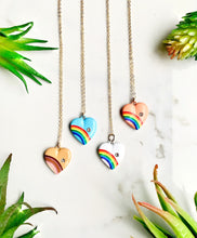 Load image into Gallery viewer, Blue Rainbow Heart Necklace