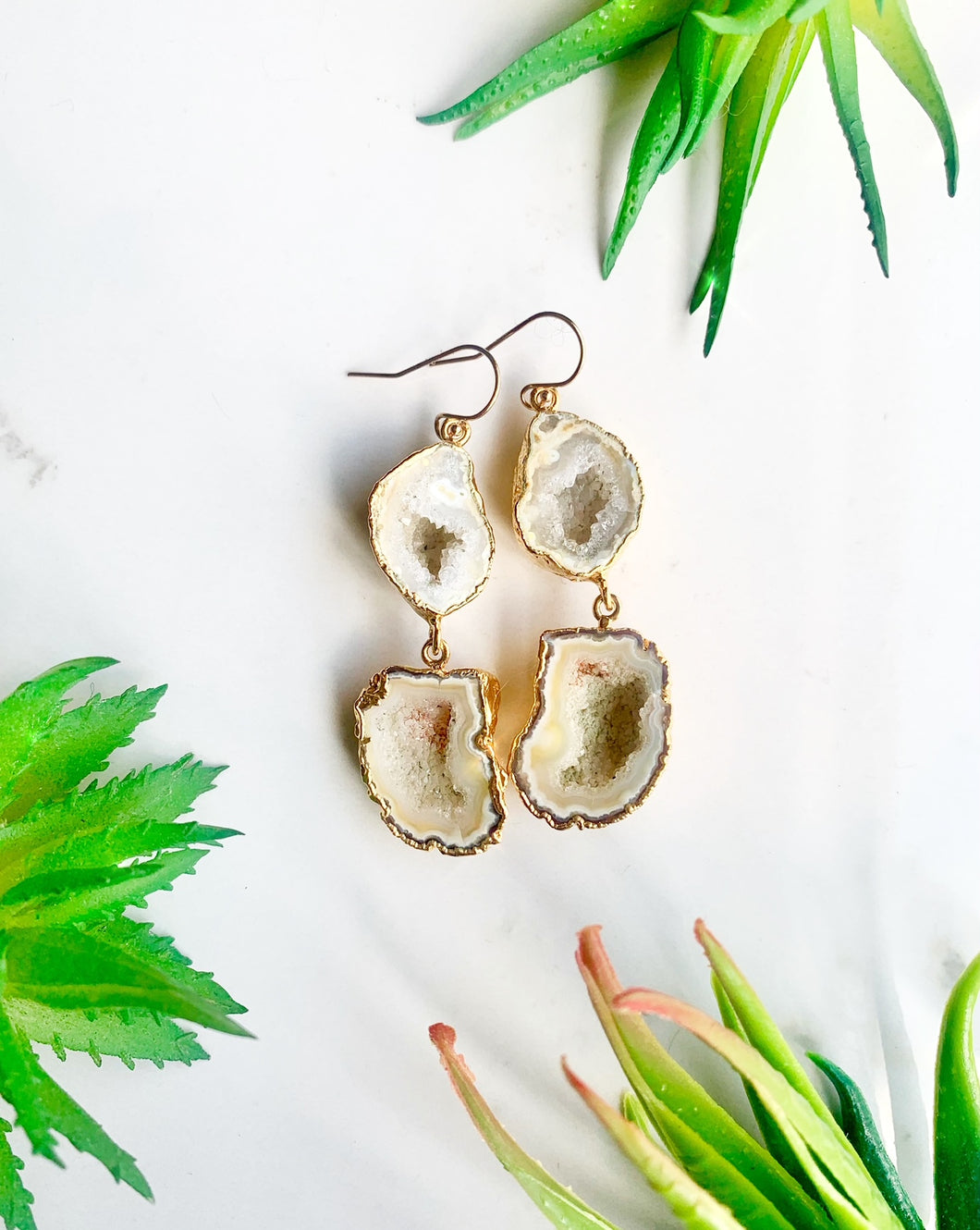 Yellow Geode Drop Earrings